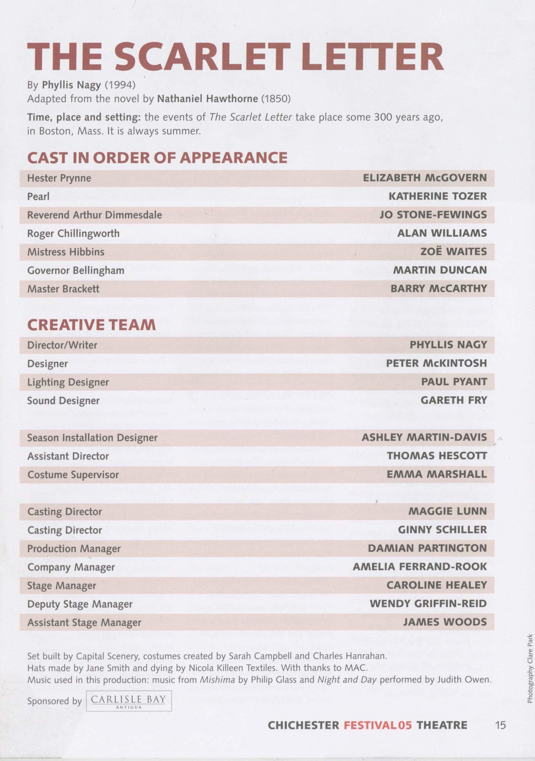 Cast list The Scarlet Letter 2005 – Pass It
