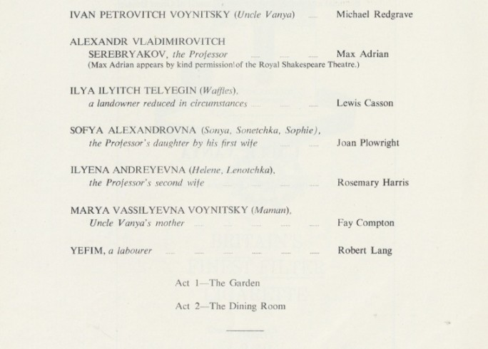 Cast list - Uncle Vanya - 1963