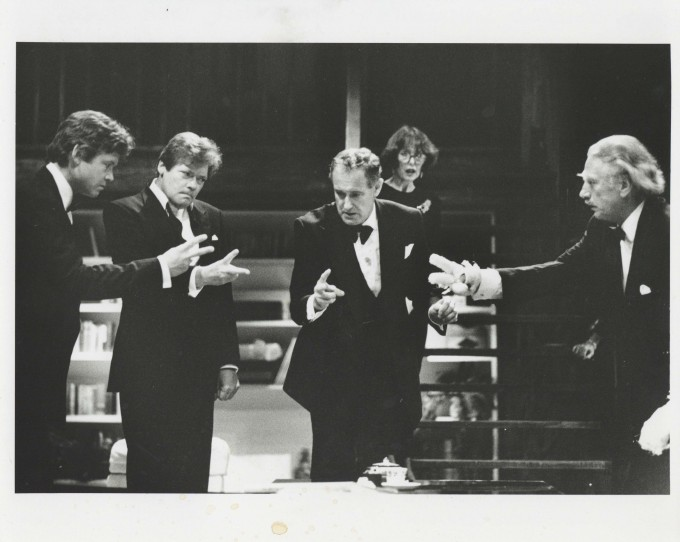Production photograph - Rumours - David Yelland, Simon Ward, Una Stubbs, Jeffry Wickham - Photographer John Haynes - 1990 - H20xW25.5cm 1 of 2