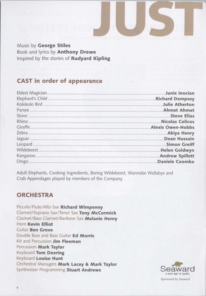 Programme - Just So - 2004 - 6 of 44