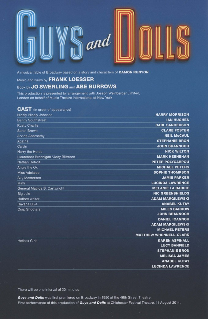 Cast List - Guys and Dolls - 2014 - 1 of 4